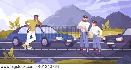 Traffic Police Patrol Background With Drunk Driver Symbols Flat Vector Illustration