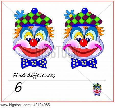 Find 6 Differences. Logic Puzzle Game For Children And Adults. Brain Teaser Book For Kids. Illustrat