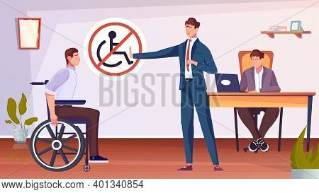 Discrimination Of Disabled People With Man On Wheelchair Flat Vector Illustration