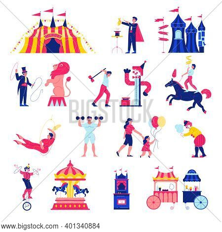 Circus Funfair Set With Isolated Icons Of Big Top Fairground Rides Market Stalls And Human Character