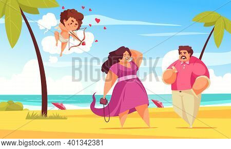 Amur Cupid Valentine Day Couple Composition With Tropical Beach Landscape And Character Of Amor With