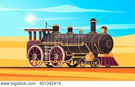 Vintage Transport Composition With Desert Landscape Sand And Sunny Sky With Railway And Classic Stea