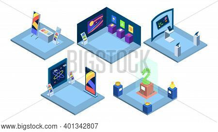 Exhibition Places Interiors Isometric Vector Illustration. Art Gallery, Trade Show, Science Fair Iso