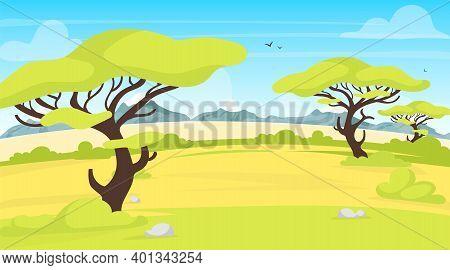 Safari Landscape Flat Vector Illustration. African Outdoor Scene. Green Savannah Field With Trees. M