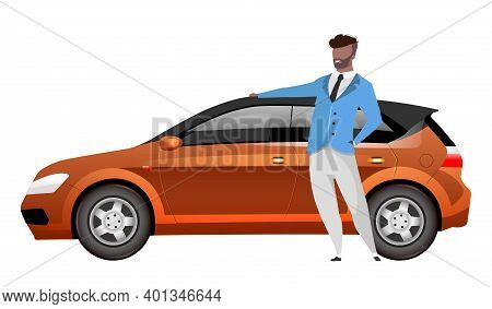 Man Standing By Hatchback Flat Color Vector Faceless Character. African American Businessman With Au