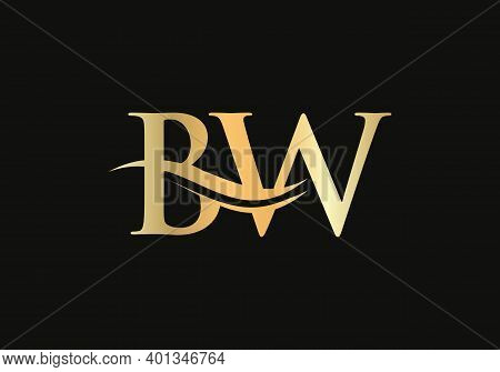 Bw Initial Logo Company Name Color Gold Swoosh Design. Vector Bw Logo For Business And Company Ident