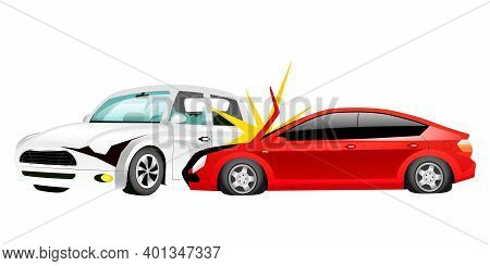Car Crash Cartoon Vector Illustration. Smashed Red Sedan And White Mini Cooper Flat Color Objects. T