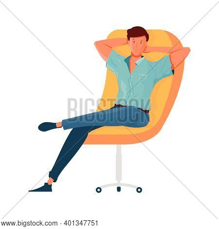 Relaxed Man Sitting On Comfortable Yellow Castor Chair Flat Vector Illustration