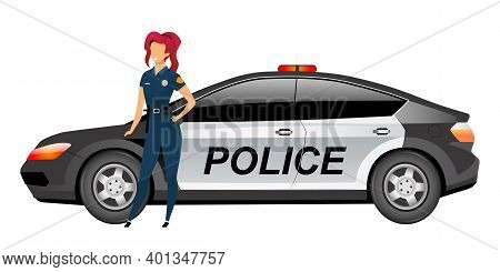 Woman Cop Standing By Automobile Flat Color Vector Faceless Character. Female Police Officer Isolate