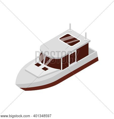 Isometric Yacht Club Composition With Small Cruiser Boat Isolated Image Vector Illustration
