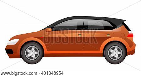 Orange Hatchback Cartoon Vector Illustration. Spacious Family Car Flat Color Object. Large Bronze Co