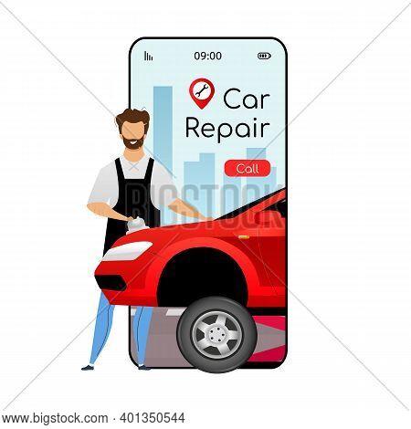 Car Repair Cartoon Smartphone Vector App Screen. Mobile Phone Display With Flat Character Design Moc