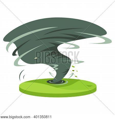Hurricane In Rural Area Cartoon Vector Illustration. Tropical Cyclone. Thunderstorm. Violent Tornado