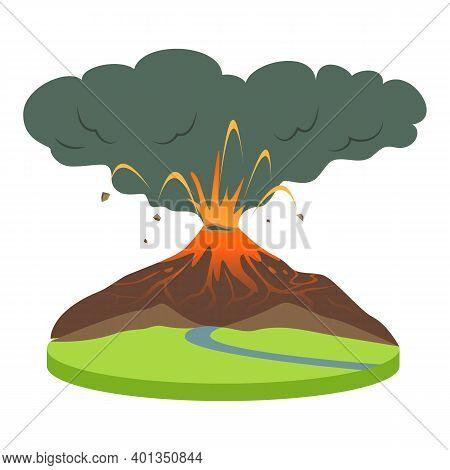 Volcano Eruption In Rural Area Cartoon Vector Illustration. Volcanic Activity. Active Volcano Spewin
