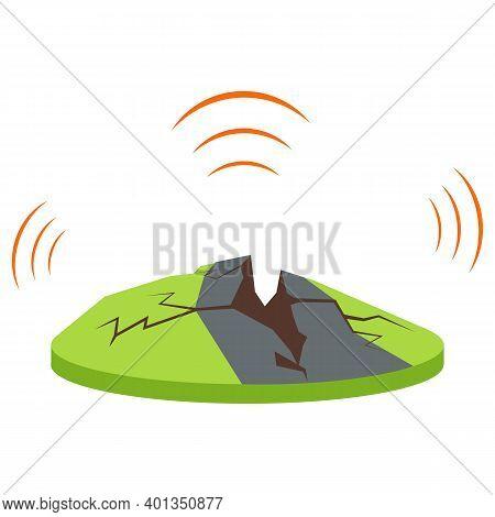 Earthquake Cartoon Vector Illustration. Tectonic Movements. Seismic Activity. Shaking Of Earth. Crac