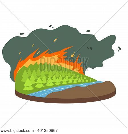 Wildfire Cartoon Vector Illustration. Burning Forest, Woods. Fire Destroying Woodland. Cataclysm. Ex