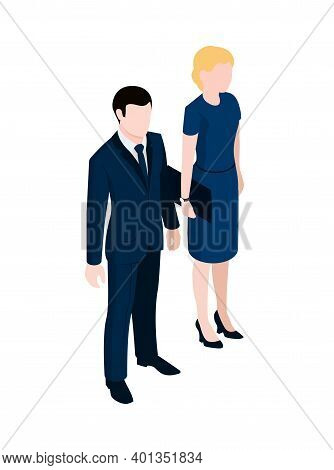 Business People Man And Woman In Office Wear On White Background 3d Isometric Vector Illustration