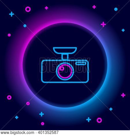 Glowing Neon Line Car Dvr Icon Isolated On Black Background. Car Digital Video Recorder Icon. Colorf