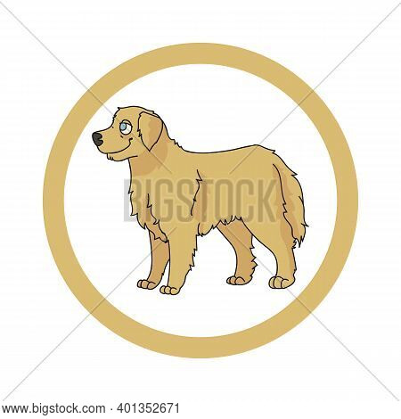Cute Cartoon Golden Retriever In Dotty Circle Dog Vector Clipart. Pedigree Kennel Doggie Breed For K