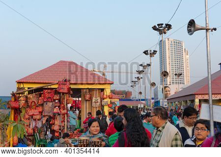 Kolkata, West Bengal, India - 31st December 2018 : Visitors Enjoying Fair, Handicrafts Products Bein