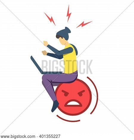 Angry Guy With Laptop Semi Flat Rgb Color Vector Illustration. Negative Emoticon. Irritated, Annoyed