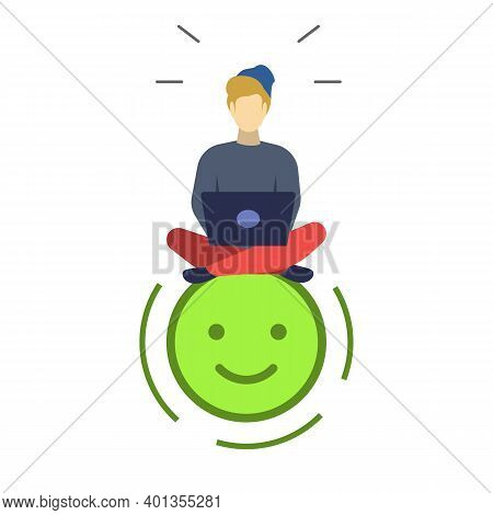 Satisfied User Semi Flat Rgb Color Vector Illustration. Positive Emoticon. Happy Man With Laptop. Go