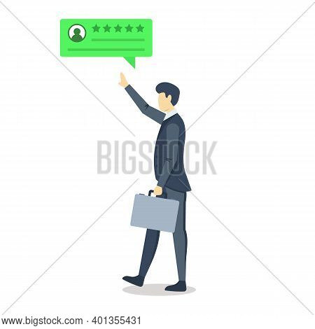 Businessman With Positive Review Bubble Semi Flat Rgb Color Vector Illustration. Consumer Feedback.