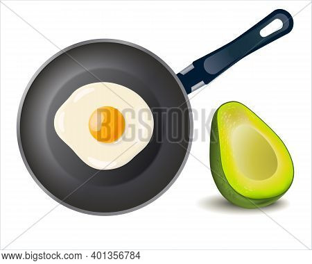 Breakfast Skillet Pan Of Fried Egg And Avocado Isolated On White Background. Cooked Omelet. Cooking