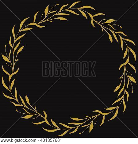 Black Background With Abstract Foliate Branch; For Greeting Cards, Invitations, Posters, Banners; Ve