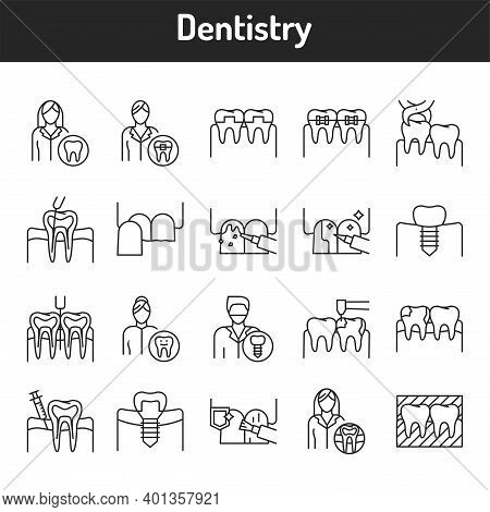 Dentistry Color Line Icons Set. Pictograms For Web Page, Mobile App, Promo.