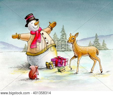 Snowman giving gifts to a squirrel and a fawn. Traditional watercolor illustration.