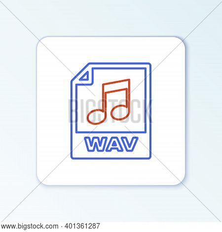 Line Wav File Document. Download Wav Button Icon Isolated On White Background. Wav Waveform Audio Fi