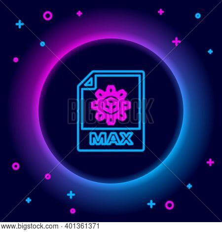 Glowing Neon Line Max File Document. Download Max Button Icon Isolated On Black Background. Max File