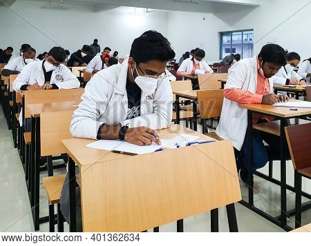 December 8, 2020.lucknow Uttar Pradesh, India. West Bengal India. Medical Students Writing Examinati