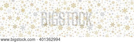 Snowflake Border Background. Vector Seamless Pattern With Small Gold And Silver Snowflakes. Luxury G