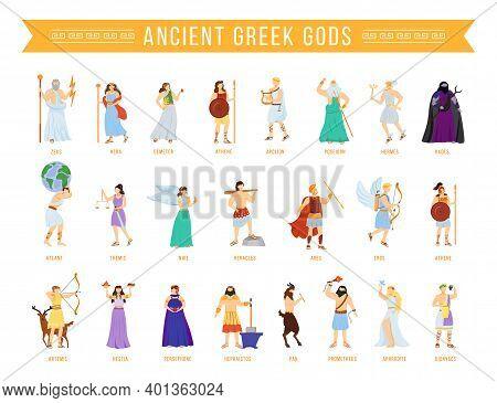 Ancient Greek Pantheon Gods And Goddesses Flat Vector Illustrations Set. Titans And Heroes. Mytholog