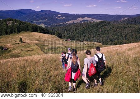 Bielsko Biala, South Poland - July 29, 2017: Bunch Of People Trekking Hiking In The Polish Beskidy L