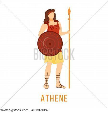 Athene Flat Vector Illustration. Ancient Greek Deity. Goddess Of Wisdom And War. Mythology. Divine M