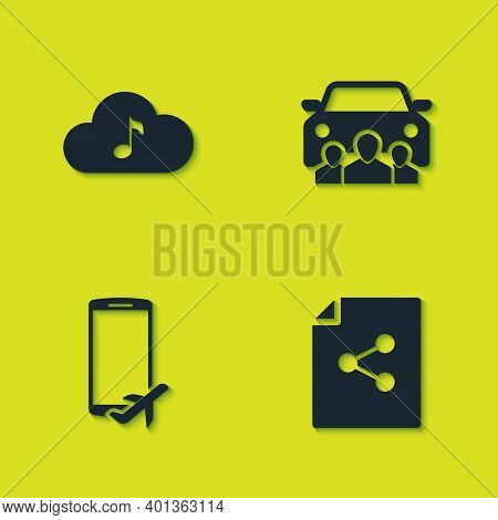 Set Music Streaming Service, Share File, Flight Mode The Mobile And Car Sharing Icon. Vector
