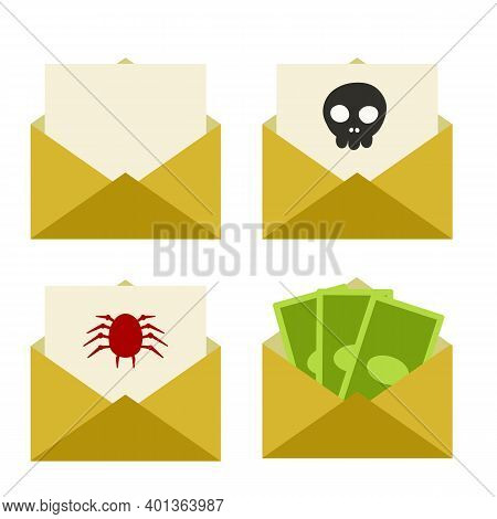 Envelope With Paper Letter. Spam Message With Dangerous Virus In Email With Spider And Skull. Comput