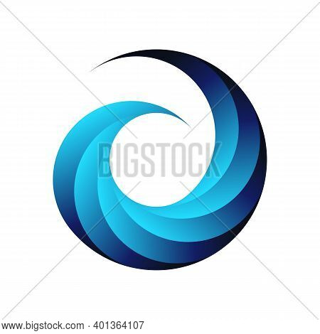 Swirl Design Logo. Abstract Business Web Icon. Stylized Blue Circle Symbol, Isolated Pattern Emblem.