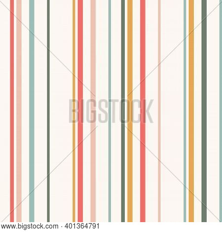 Simple Vector Vertical Stripes Pattern. Seamless Texture With Thin Colored Lines. Abstract Geometric