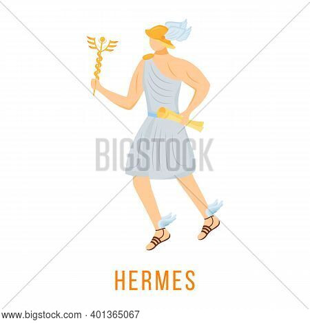 Hermes Flat Vector Illustration. Ancient Greek Deity. God Of Trade And Eloquence. Emissary Of Gods.