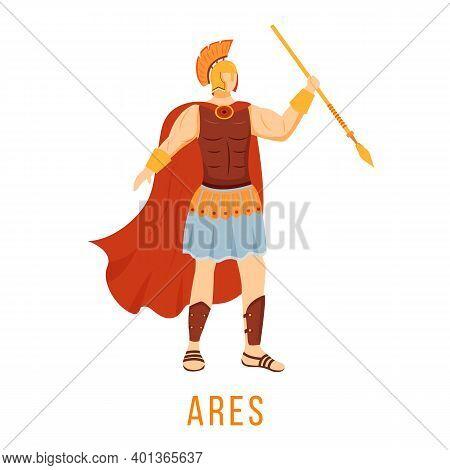 Ares Flat Vector Illustration. God Of War. Ancient Greek Deity. Divine Mythological Figure. Isolated