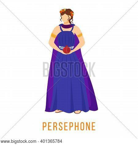 Persephone Flat Vector Illustration. Ancient Greek Deity. Mythology. Goddess. Queen Of Underworld. D