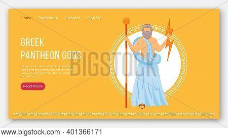 Zeus Landing Page Vector Template. Greek Pantheon Gods. One Of 12 Olympians. Ancient Mythology Websi