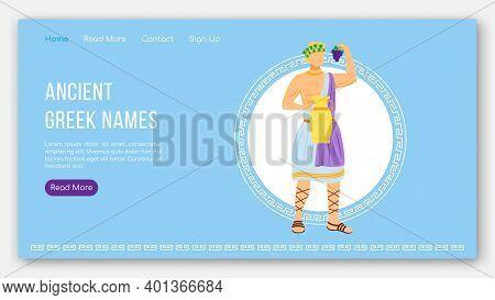 Ancient Greek Names Landing Page Vector Template. Greek Pantheon. Mythology Tradition Website Interf