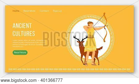 Ancient Cultures Landing Page Vector Template. Greek Gods Pantheon. Mythology Tradition Website Inte