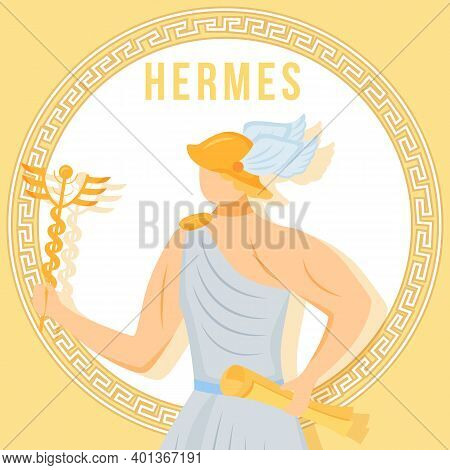 Hermes Yellow Social Media Post Mockup. Ancient Greek God. Mythological Figure. Web Banner Design Te
