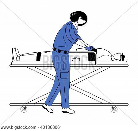 Paramedic Giving First Aid Flat Vector Illustration. Urgent Care, Resuscitation. Emergency Rescue Wo